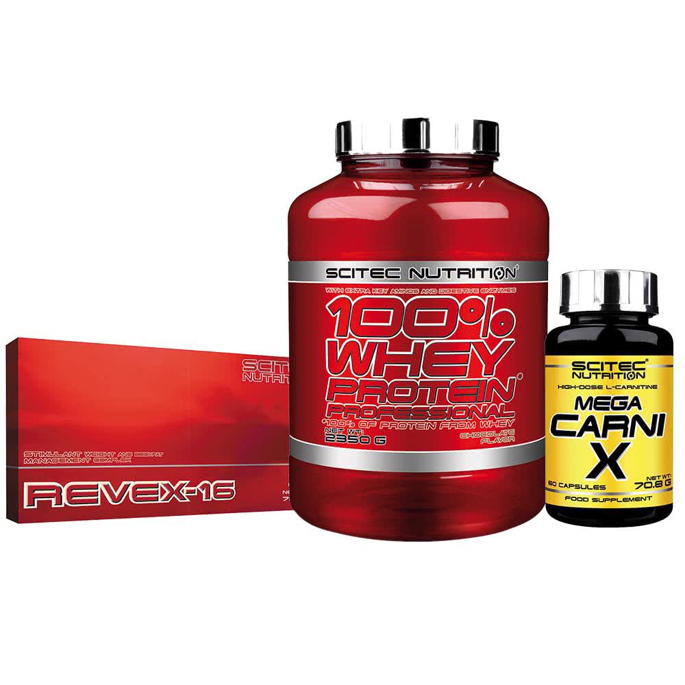 Scitec Nutrition 100% Whey Protein Professional + Revex-16 + Carni-X set