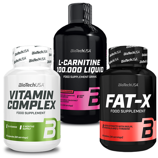BioTech USA L-Carnitine 100.000 Liquid + Fat-X + Vitamin Complex set