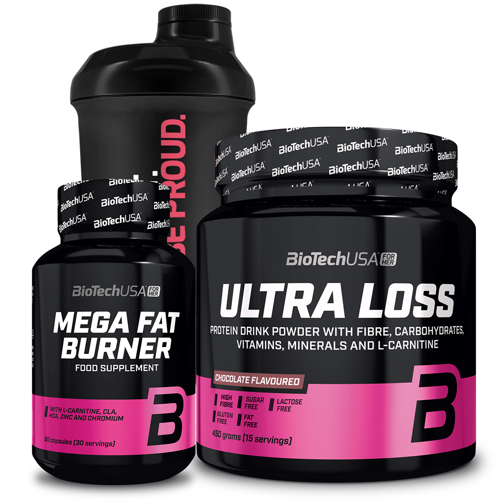 BioTech USA Ultra Loss + Mega Fat Burner + For Her Wave+ Nano Shaker set
